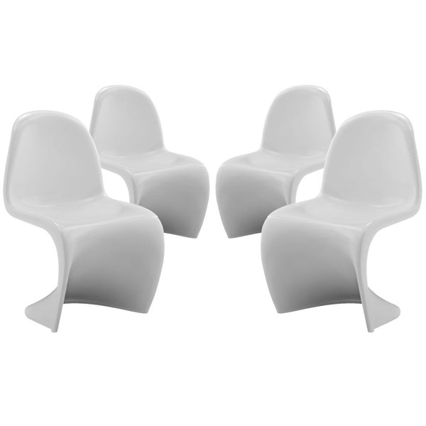 4 Slither White Plastic Solid Back Kids Chair Set EEI-1253-WHI