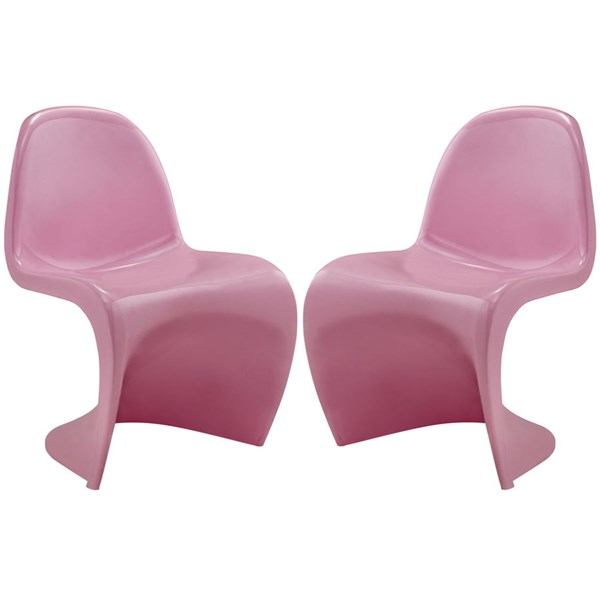 2 Slither Pink Plastic Dining Side Chairs EEI-1254-PNK