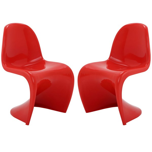 2 Slither Red Plastic Dining Side Chairs EEI-1254-RED