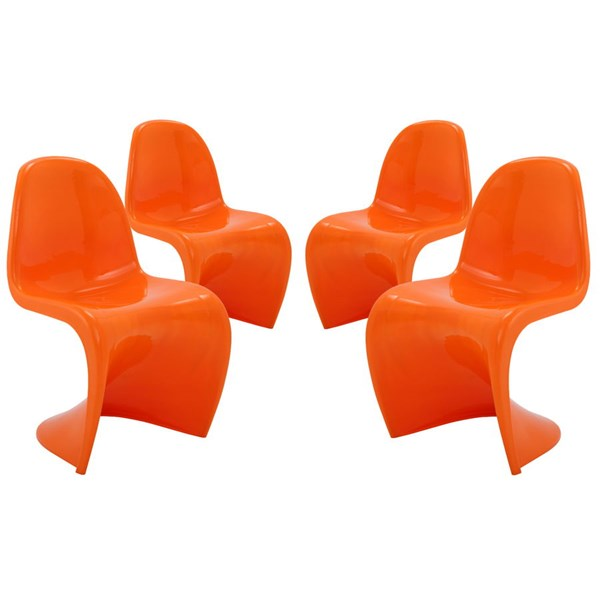 4 Slither Orange Plastic Dining Side Chairs EEI-1255-ORA