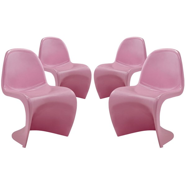 4 Slither Pink Plastic Dining Side Chairs EEI-1255-PNK