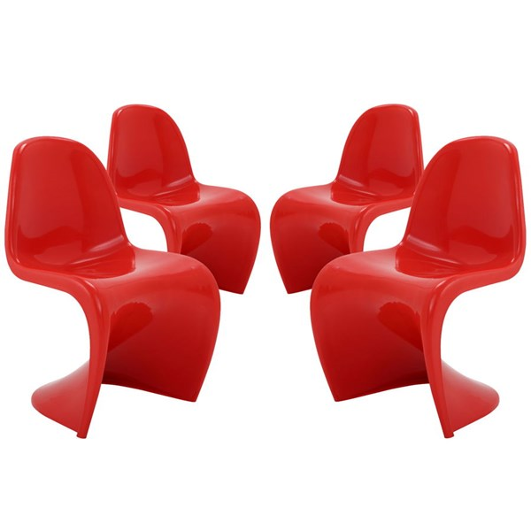 4 Slither Red Plastic Dining Side Chairs EEI-1255-RED