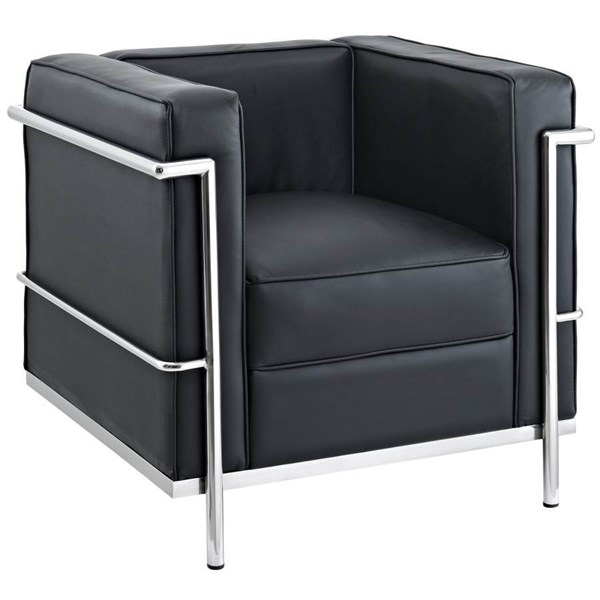 Le Corbusier Modern Black Stainless Steel Leather LC2 Armchair EEI-126-BLK