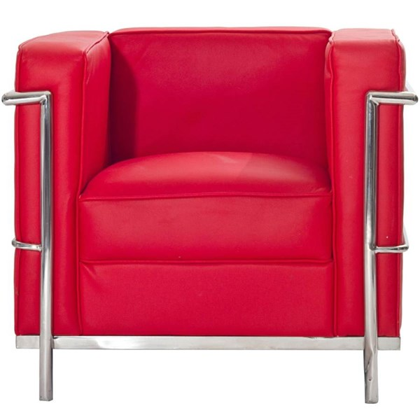 Le Corbusier Modern Red Stainless Steel Leather LC2 Armchair EEI-126-RED