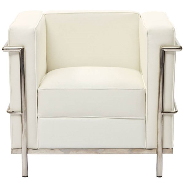 Le Corbusier Modern White Stainless Steel Leather LC2 Armchair EEI-126-WHI
