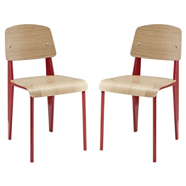 2 Cabin Modern Red Metal Wood Dining Side Chairs EEI-1262-RED