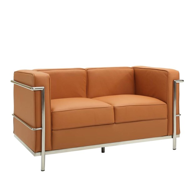 Tan Leather With Stainless Steel Frame LC2 Loveseat EEI-127-TAN