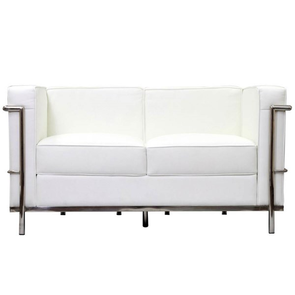 White Leather With Stainless Steel Frame LC2 Loveseat EEI-127-WHI