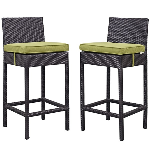 2 Modway Furniture Lift Espresso Peridot Outdoor Patio Bar Stools EEI-1281-EXP-PER