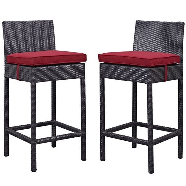 2 Lift Espresso Red Fabric PE Rattan Outdoor Patio Bar Stools EEI-1281-EXP-RED