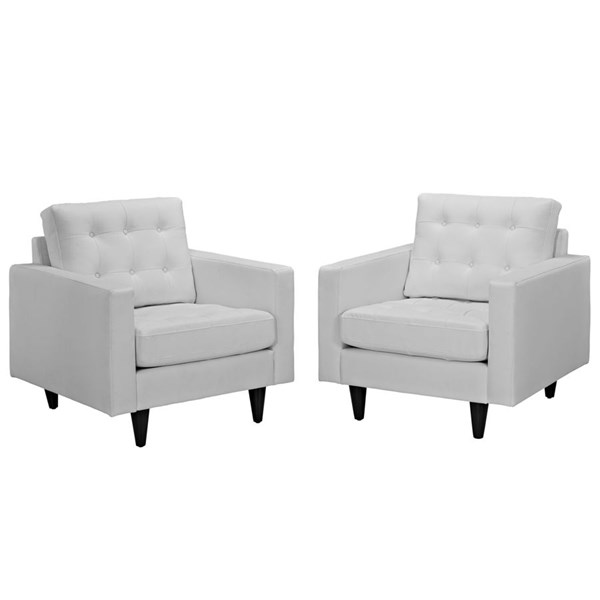 Empress Modern White Bonded Leather Solid Wood Armchair Set EEI-1282-WHI