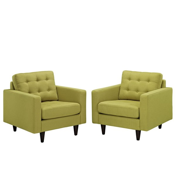 2 Modway Furniture Empress Wheatgrass Upholstered Armchairs EEI-1283-WHE