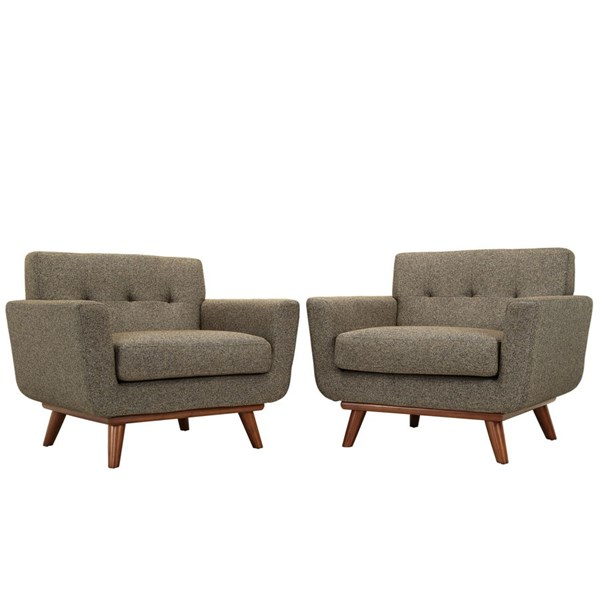 Engage Oatmeal Fabric Wood Tufted Back Armchair Set EEI-1284-OAT