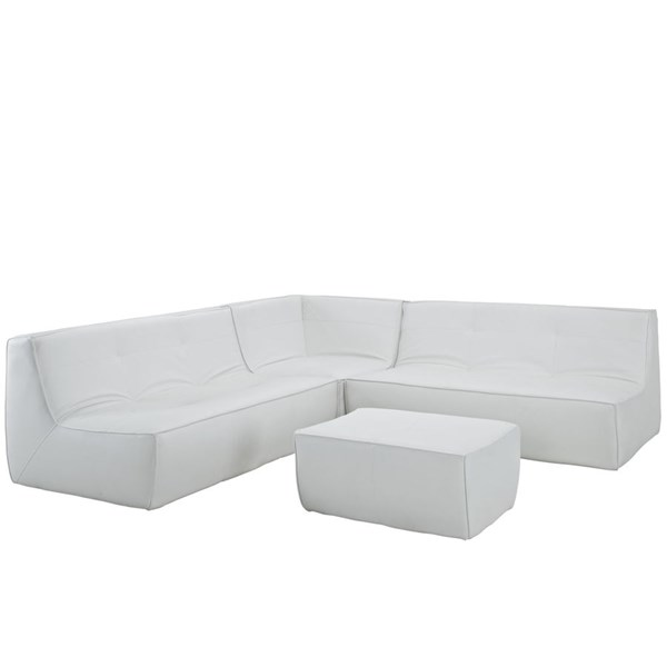 Align Modern White Bonded Leather PU 4pc Sectional w/Loveseat EEI-1285-WHI