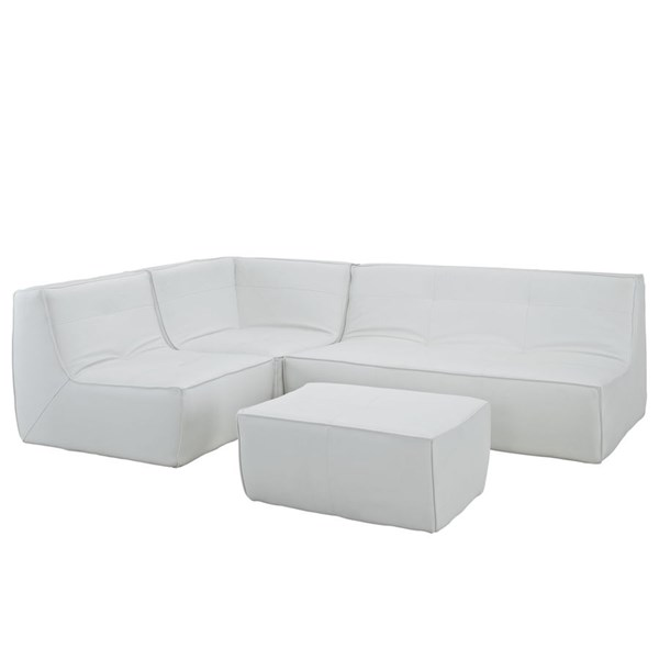 Align Modern White Bonded Leather PU 4pc Sectional w/Chair EEI-1286-WHI