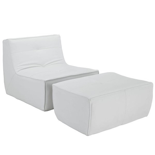 Align Modern White Bonded Leather PU 2pc Armchair & Ottoman Set EEI-1287-WHI