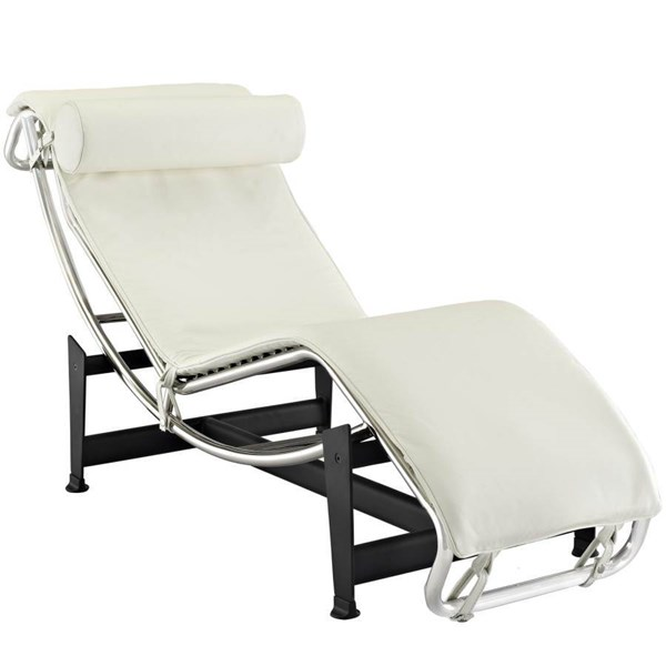 Le Corbusier Modern White Stainless Steel Iron Painting LC4 Chaise EEI-129-WHI