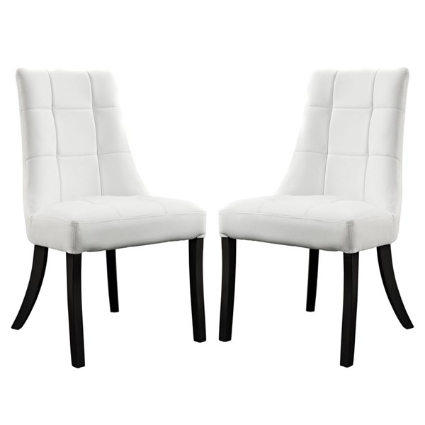 2 Noblesse Elegant White Vinyl Wood Dining Chairs EEI-1298-WHI