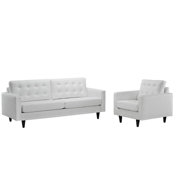 Empress Modern White Bonded Leather Solid Wood Sofa & Armchair Set EEI-1311-WHI