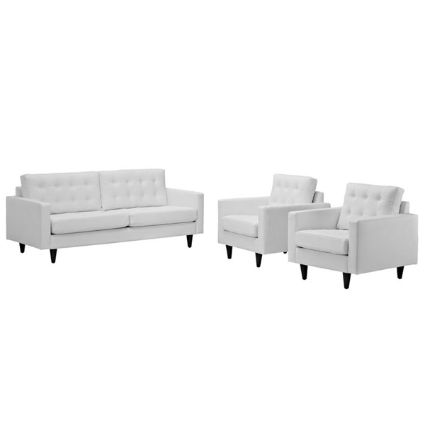 Empress Modern White Bonded Leather Solid Wood Sofa & Armchairs Set EEI-1312-WHI