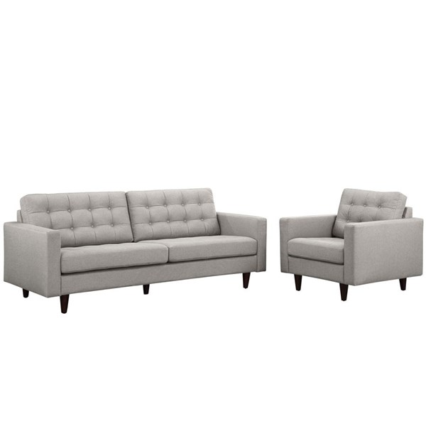 Modway Furniture Empress Light Gray Armchair and Sofa Set EEI-1313-LGR