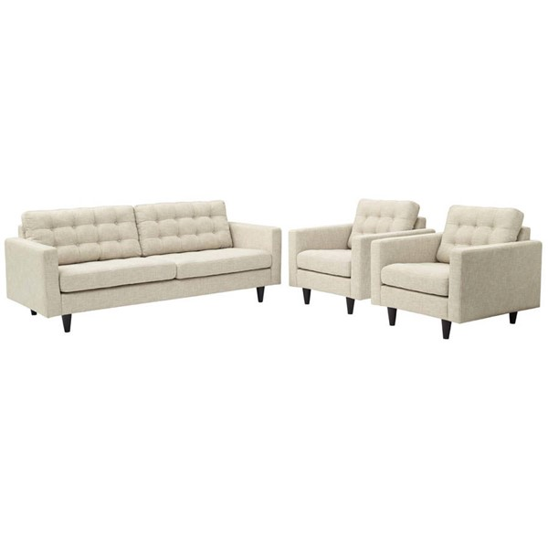 Modway Furniture Empress Beige 3pc Sofa and Armchairs Set EEI-1314-BEI