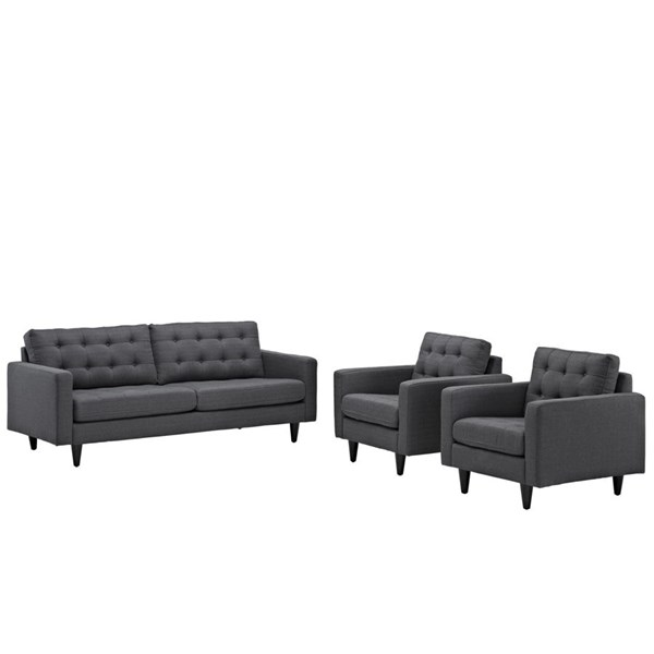 Modway Furniture Empress Gray 3pc Sofa and Armchairs Set EEI-1314-DOR