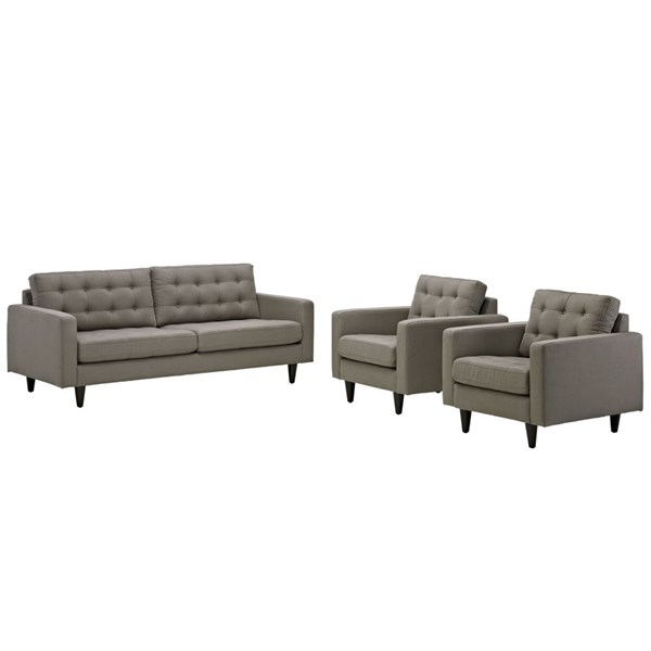 Modway Furniture Empress Granite 3pc Sofa and Armchairs Set EEI-1314-GRA