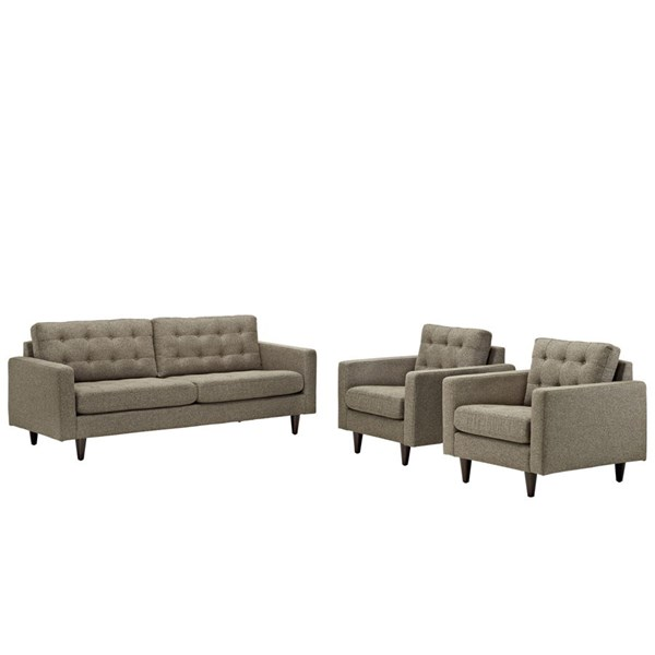 Modway Furniture Empress Oatmeal 3pc Sofa and Armchairs Set EEI-1314-OAT