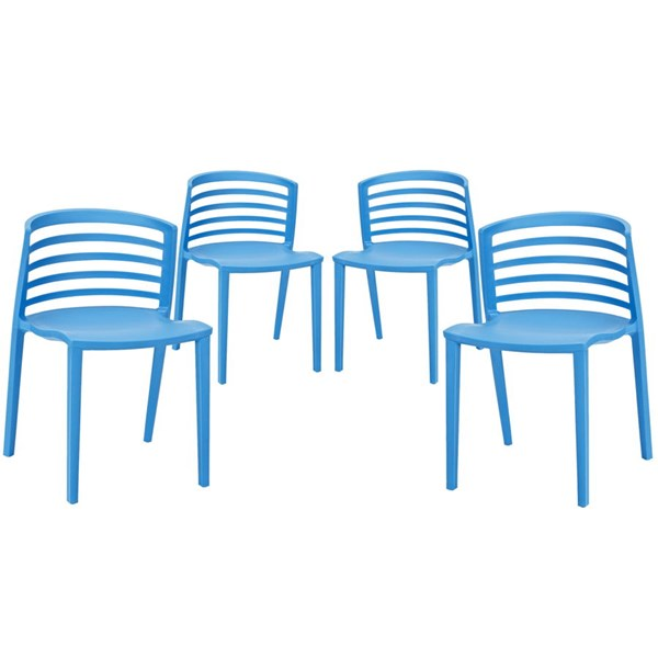 4 Curvy Contemporary Blue Plastic Dining Chairs EEI-1315-BLU