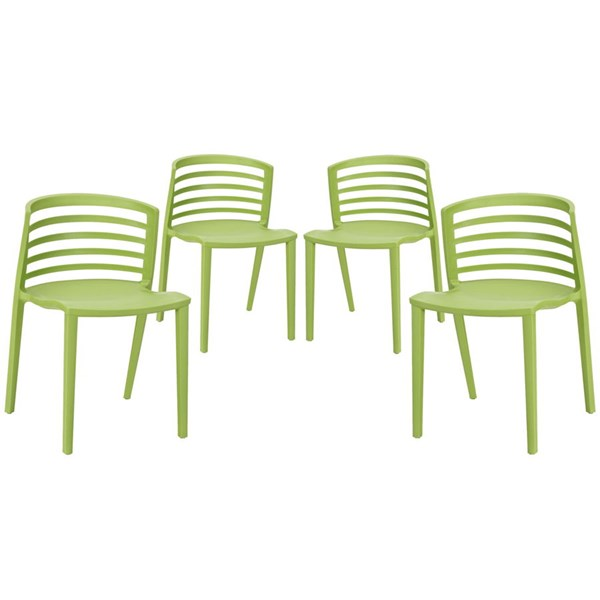 4 Curvy Contemporary Green Plastic Dining Chairs EEI-1315-GRN