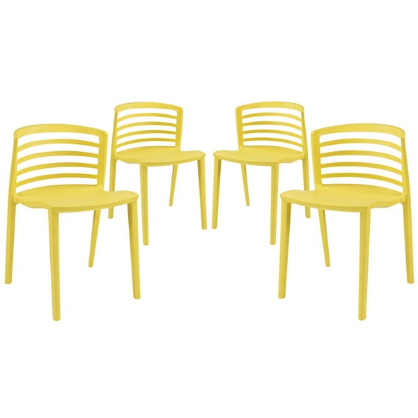 4 Curvy Contemporary Yellow Plastic Dining Chairs EEI-1315-YLW