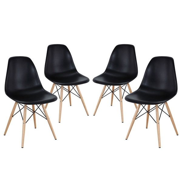 4 Pyramid Black Plastic Steel Solid Wood Dining Side Chairs EEI-1316-BLK