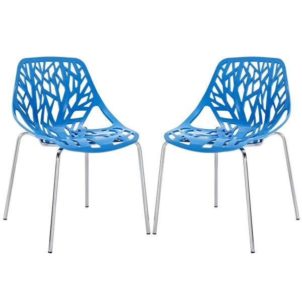 2 Stencil Modern Blue PP Plastic Chrome Dining Side Chairs EEI-1317-BLU
