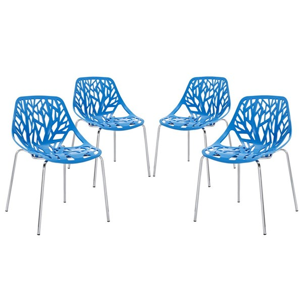 4 Modway Furniture Stencil Blue Dining Side Chairs EEI-1318-BLU