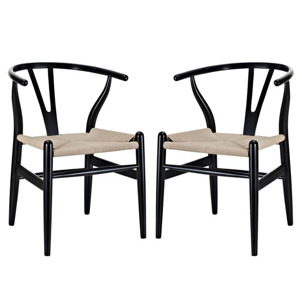 Amish Transitional Black Solid Wood Woven Dining Armchairs EEI-552-DR-CH-VAR
