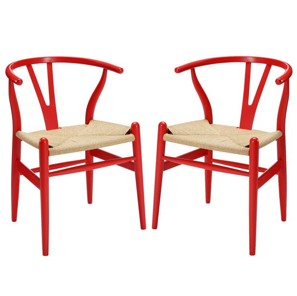 2 Amish Transitional Red Solid Wood Woven Dining Armchairs EEI-1319-RED