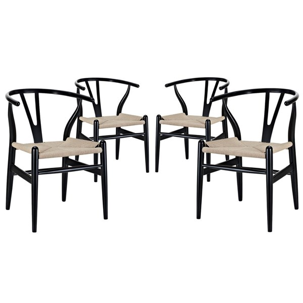 4 Amish Transitional Black Solid Wood Woven Dining Armchairs EEI-1320-BLK