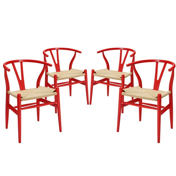 4 Modway Furniture Amish Red Dining Armchairs EEI-1320-RED
