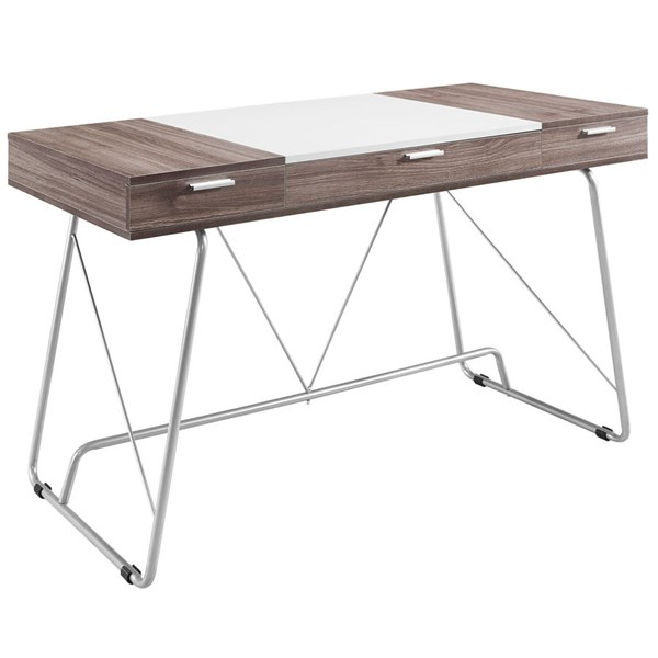 Panel Contemporary Birch Melamine Metal Office Desks EEI-1321-HOF-CH-VAR