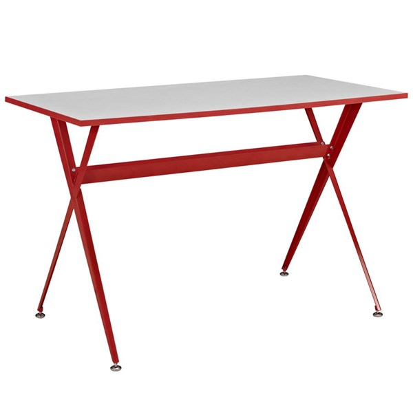 Expound Contemporary Red Melamine Metal Office Desk EEI-1325-RED