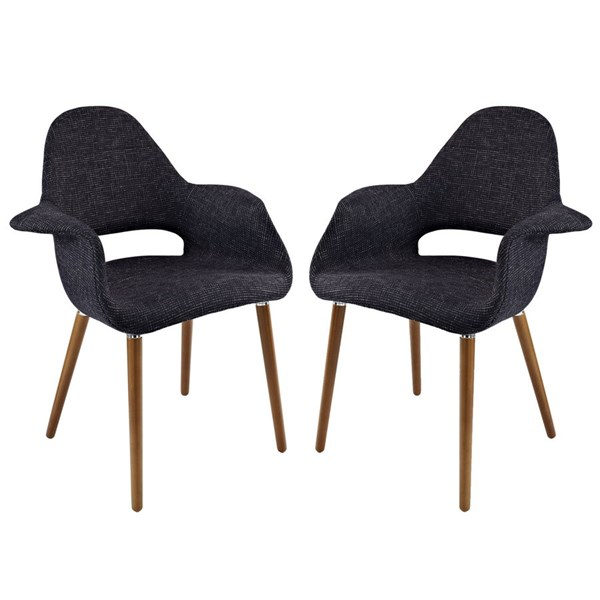 2 Aegis Modern Black Fabric Wood Dining Armchairs EEI-1329-BLK