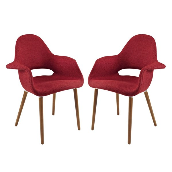 2 Aegis Modern Red Fabric Wood Dining Armchairs EEI-1329-RED
