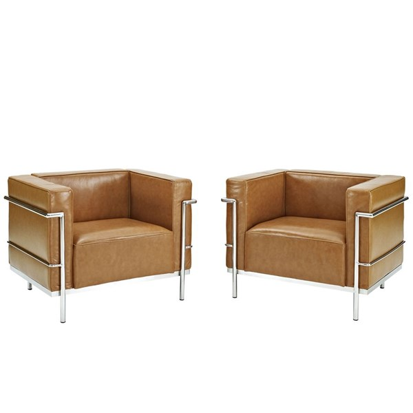 Charles Grande Modern Tan Leather Steel 2pc Armchairs Set EEI-1331-TAN