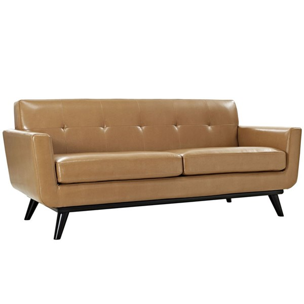 Engage Tan Wood Bonded Leather Tufted Back Loveseat EEI-1337-TAN