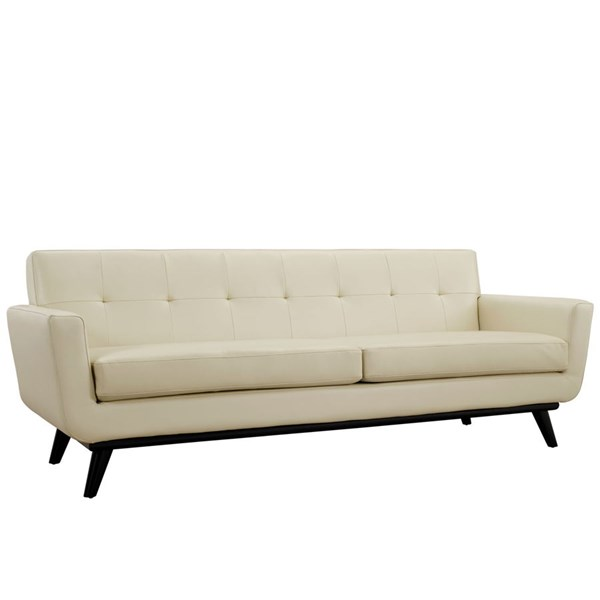 Engage Beige Wood Bonded Leather Tufted Back Sofa EEI-1338-BEI