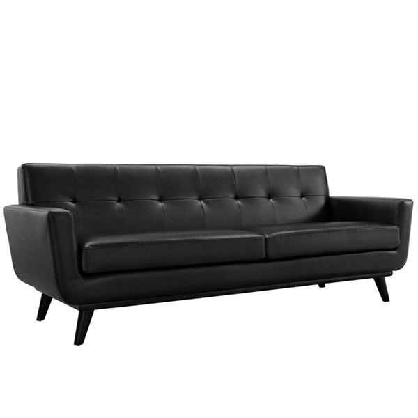 Modway Furniture Engage Black Bonded Leather Sofa EEI-1338-BLK