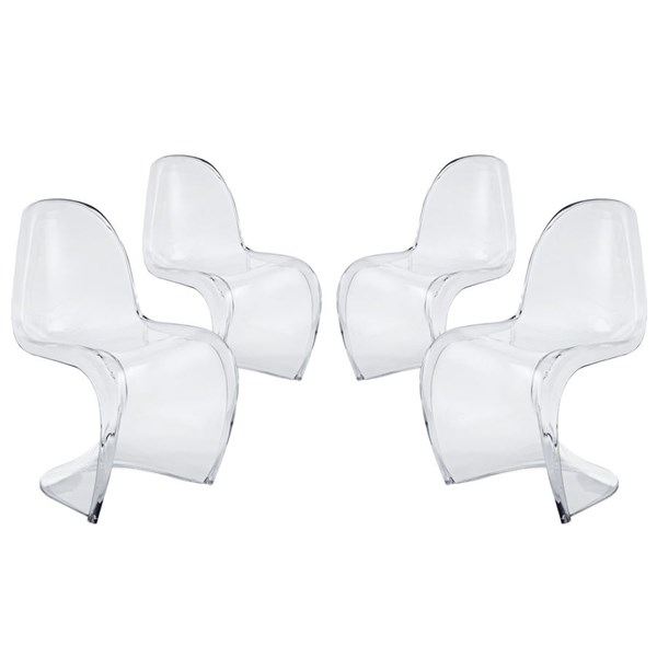 4 Slither Clear Acrylic Clear Dining Side Chairs EEI-1341-CLR