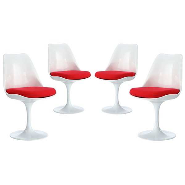 4 Lippa Modern Red Fabric Plastic Dining Side Chairs EEI-1342-RED