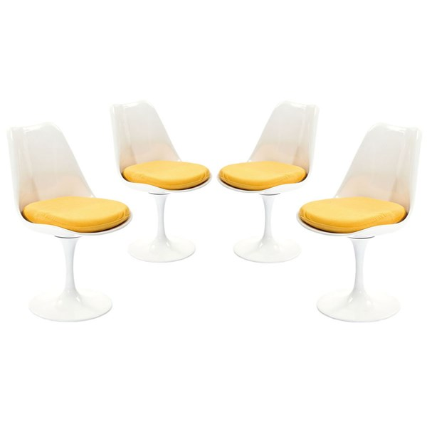 4 Lippa Modern Yellow Fabric Plastic Dining Side Chairs EEI-1342-YLW